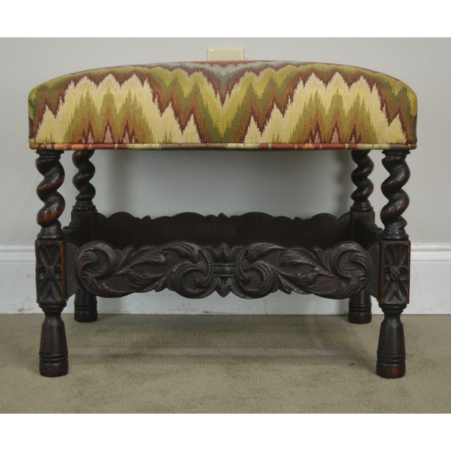 Antique Carved Oak Jacobean Style Small Bench or Stool For Sale - Image 9 of 13