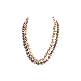 Golden Cultured Pearl Necklaces - A Pair For Sale