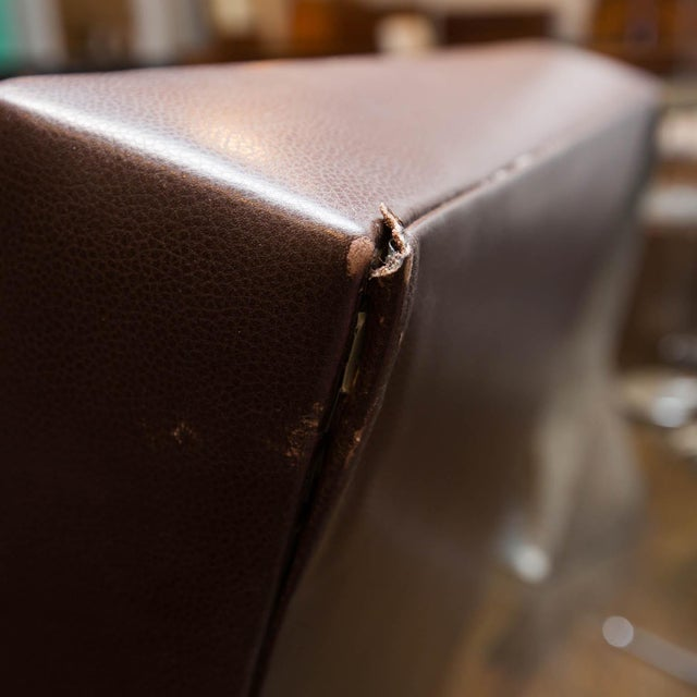 Holly Hunt Brown Leather Swivel Chairs - Image 3 of 11