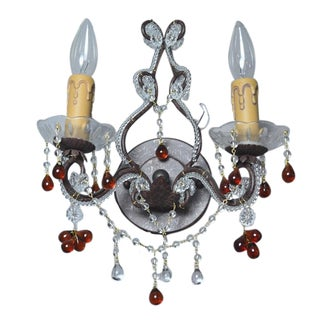 Paris Flea Market Style Wall Sconce, Elegant Crystal and Amber Drops For Sale
