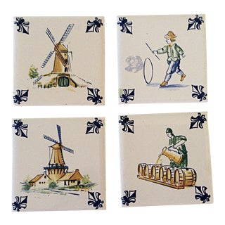 KLM Delft Tiles, Set of 4 For Sale