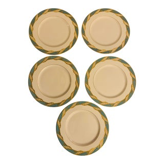 """Late 20th Century Lenox """"Bellevue"""" Sea Green Dinner Plates - Set of 5 For Sale"""