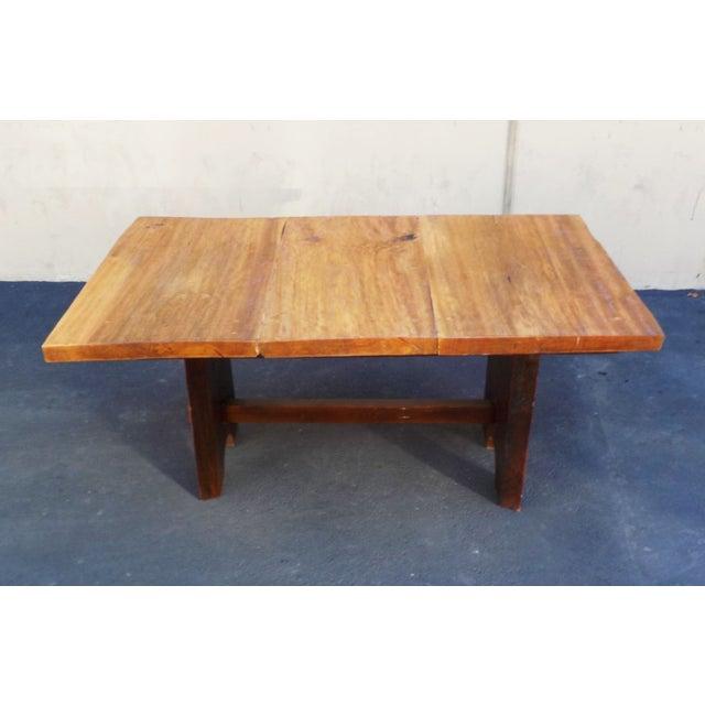 Rustic Mission Wood Slab Dining Table Desk For Sale - Image 5 of 7