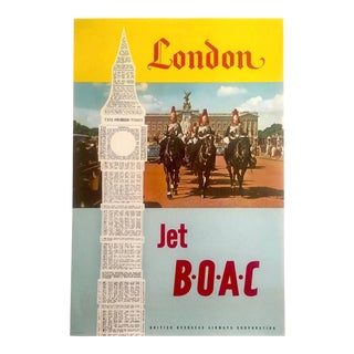 """Rare Vintage Mid Century Modern 1950's """" London Jet b.o.a.c. """" Lithograph Print Collector's Airline Travel Poster For Sale"""