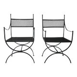 Image of 1960s Salterini Wrought Iron Curule Chairs-A Pair For Sale