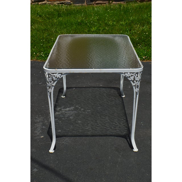 Woodard Ivy Vintage White Wrought Iron Patio Glass Top