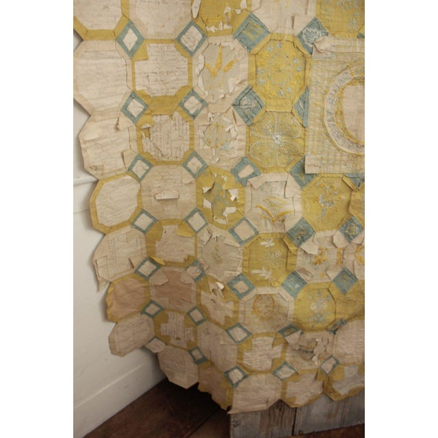 Vintage English Ramsgate Heraldry Linen Embroidered Block Quilt For Sale - Image 10 of 12