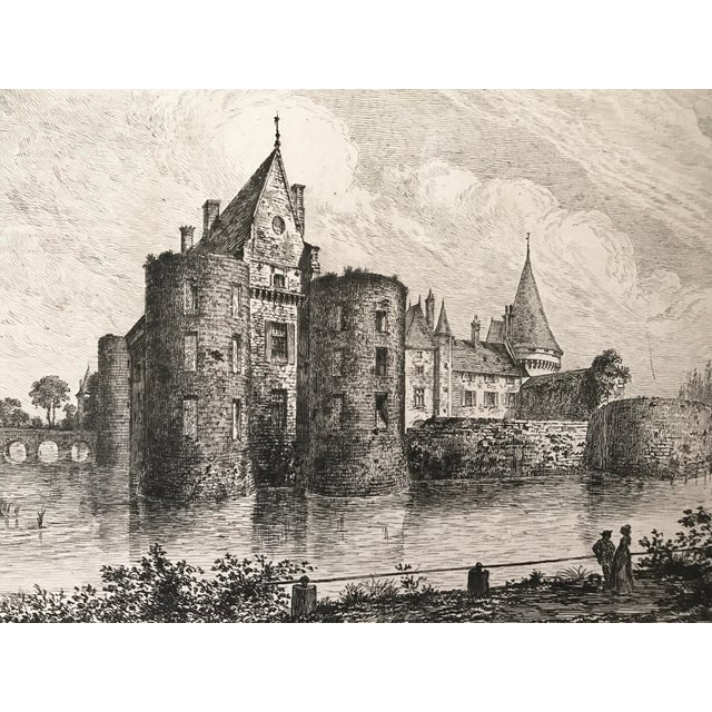 French 1877 French Chateau Sully-Sur-Loire Castle Etching For Sale - Image 3 of 5
