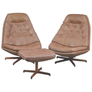 1960s Vintage Madsen & Schubell Swivel Chairs With Matching Ottoman- 3 Pieces For Sale
