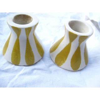Vintage Frank Mann Art Pottery Yellow Stripe Candle Holders - A Pair Preview