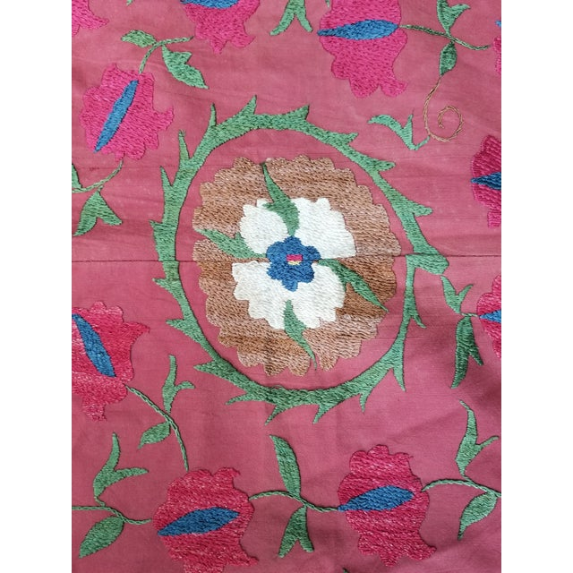 Red Vintage Turkish Bokara Suzani Blanket For Sale - Image 8 of 11