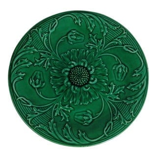 19th-C. Green Majolica Daisies Plate For Sale