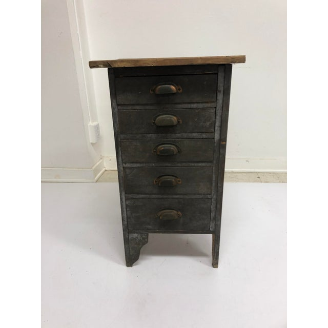Vintage Industrial Wood 5 Drawer Vertical File Cabinet For Sale - Image 13 of 13