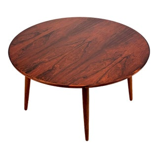 Vintage Danish Modern Rosewood Round Coffee Table For Sale