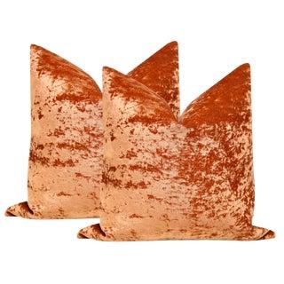 """Bohemian Velvet Burnt Orange Pillows 22"""" - a Pair For Sale"""