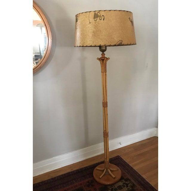 1950s Vintage Midcentury French Rattan Bamboo Floor Lamp with Original Parchment Shade For Sale - Image 13 of 13