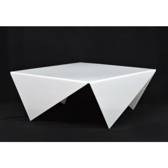 1970s Mid-Century Modern Bertin France Mouchoir Style White Acrylic Coffee Table For Sale - Image 5 of 10