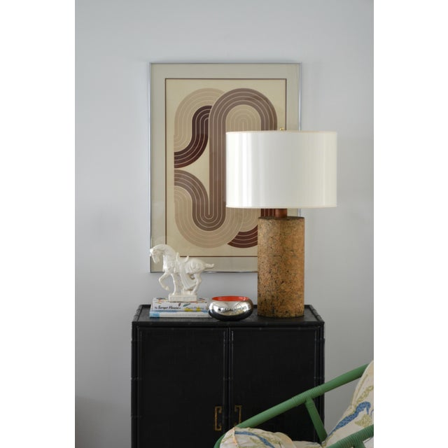Mid-Century Modern Mid-Century Cylindrical Form Cork Table Lamp For Sale - Image 3 of 11