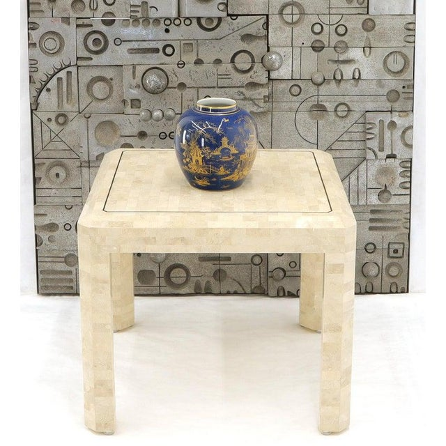 1970s Tesselated Stone Brass Inlay Square Side End Table For Sale - Image 5 of 12