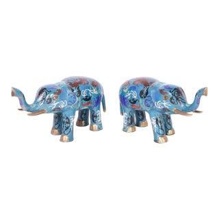 Chinese Cloisonné Elephants - A Pair For Sale