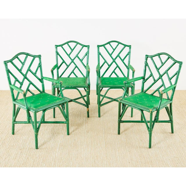 Mid-Century Modern Baker Trompe l'Oeil Card Table With Rattan Armchairs For Sale - Image 3 of 13