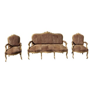 19th Century Louis XV Style Giltwood Carved Three-Piece Salon Suite For Sale
