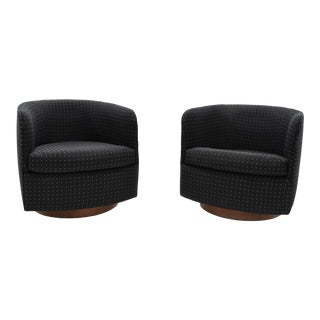 1970s Vintage Milo Baughman for Thayer Coggin Tilt and Swivel Lounge Chairs - a Pair For Sale