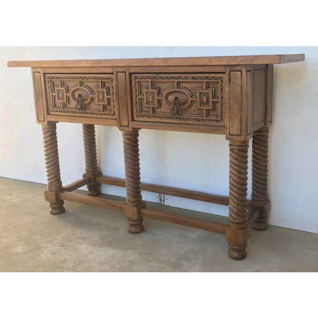 Baroque Early 19th Century Carved Walnut Wood Catalan Spanish Console Table For Sale - Image 3 of 13