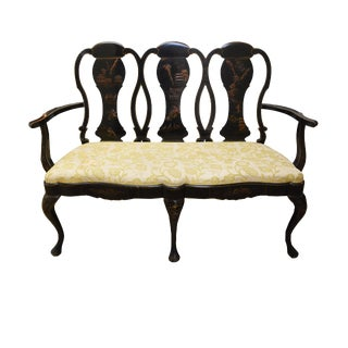 Vintage Chinoiserie Style Settee For Sale