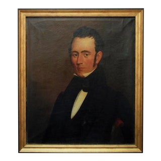 19th Century American School Portrait of a Gentleman Oil Painting, Framed For Sale