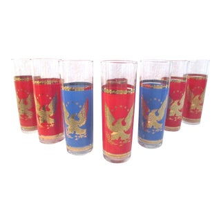 Mid-Century 22k Gold Eagle Highball Glasses - Set of 8 For Sale