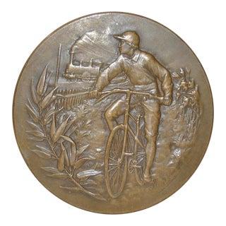 Antique Bronze Medallion w/ Bicycle & Train by A. Erdmann c.1900 For Sale