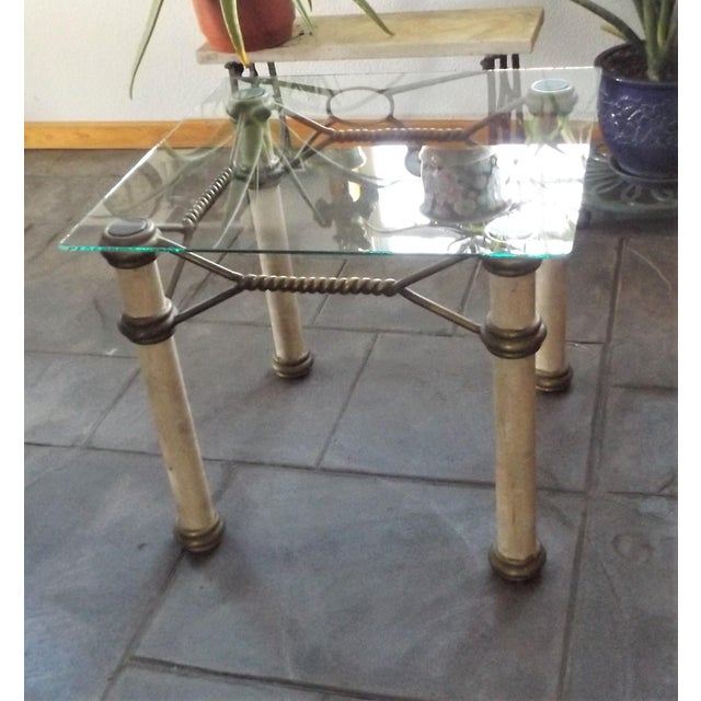 Metal Hollywood Regency Glass Top Coffee Table With Brass Trim For Sale - Image 7 of 11