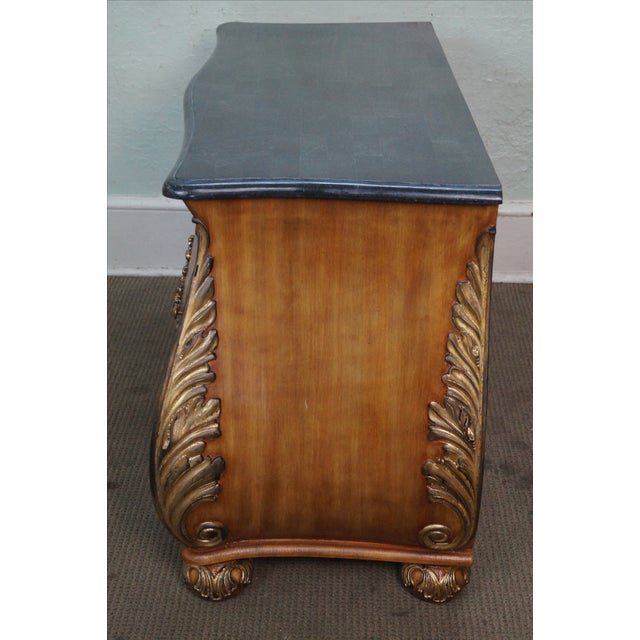 French Louis XV Style Bombe Marble Top Commode Chest For Sale - Image 5 of 9