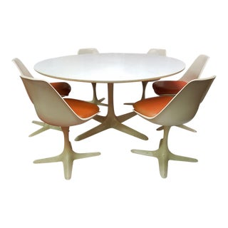 Burke Tulip White & Orange Dining Set