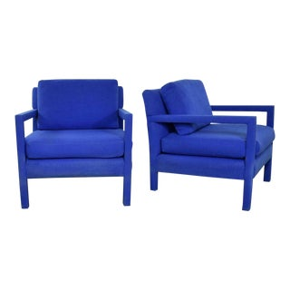 Pair Modern Parsons Style Club Chairs in Royal Blue After Milo Baughman For Sale
