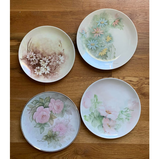 1940s 1940s Hand Painted Floral Decorative Wedding Plates - Set of 7 For Sale - Image 5 of 13