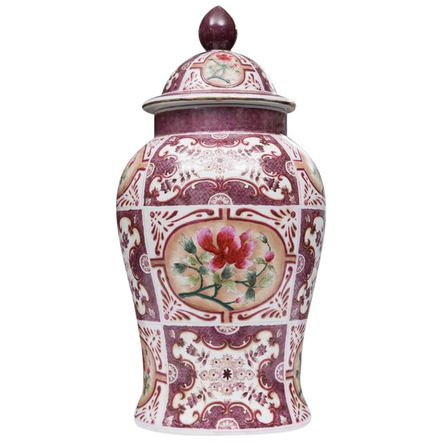 Purple Chinese Lidded Vase with European Inspiration For Sale