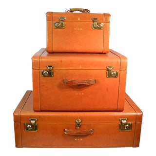 1950s Mark Cross Leather Luggage - Set of 3 For Sale
