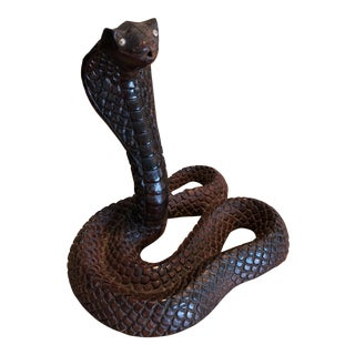 Mid-Century Carved Wood Cobra Snake