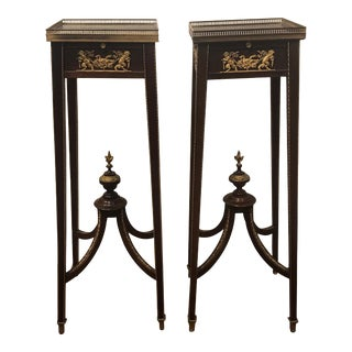Directoire Style Mahogany and Bronze-Mounted Pedestal Tables - A Pair For Sale