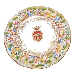 19th Century Fatto a Cappo DI Monte Saxony Coat of Arms Wall Plate For Sale