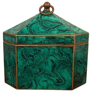 Regency Style Faux Malachite Tole Box For Sale
