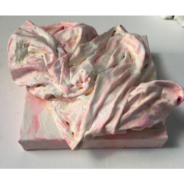 """White """"Pink Heart"""" Mixed Media Painting by Chloe Hedden For Sale - Image 8 of 11"""
