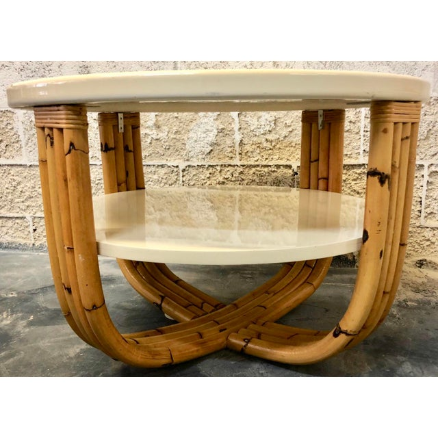 Wood and Bamboo Round Side Table For Sale - Image 4 of 5