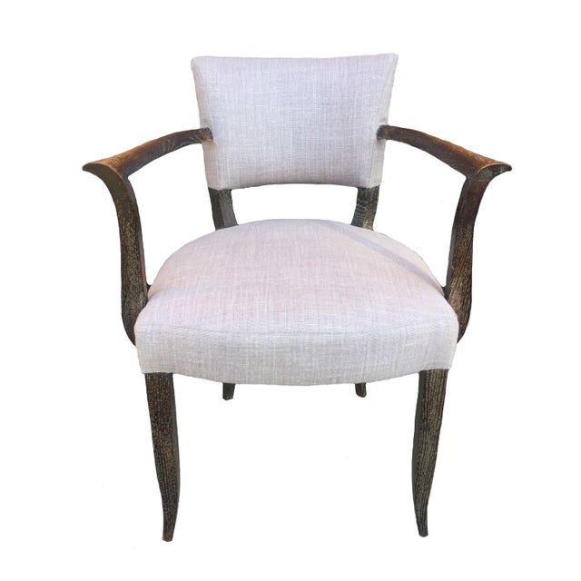 A set of four beautiful, elegant lavender armchairs. Chairs have a medium-dark wood finish and were reupholstered in...