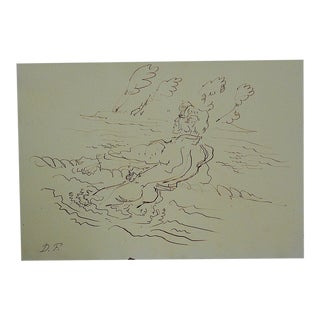 Mid 20th Century Original Signed Drawing By D. Fredenthal For Sale