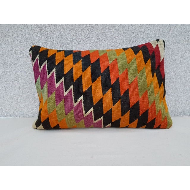 Contemporary Vintage Kilim Lumbar Pillow For Sale - Image 3 of 3