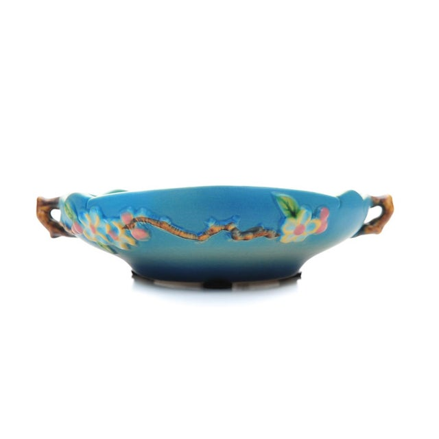 Art Deco Antique Roseville Pottery Blue Bowl For Sale - Image 3 of 10
