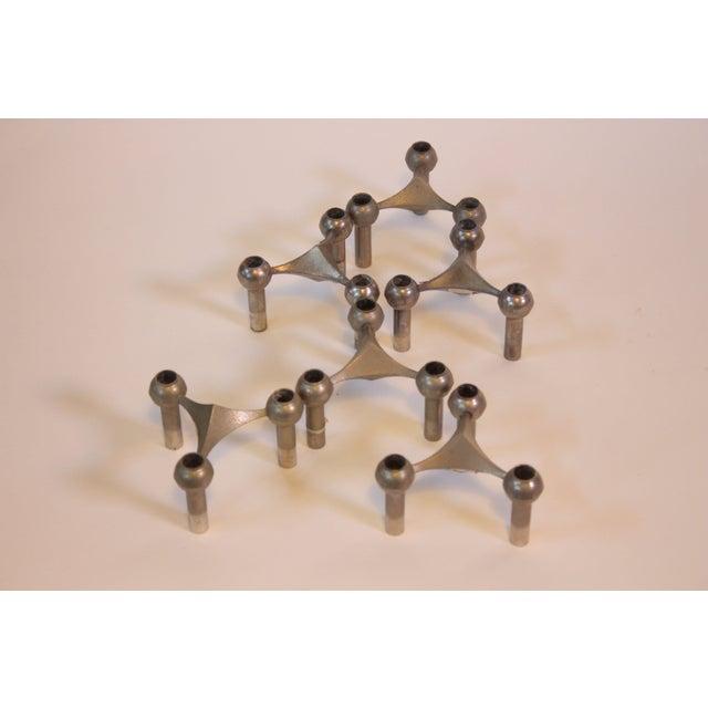 Set of Six Nagel Modular Candlesticks in Nickel - Image 5 of 9